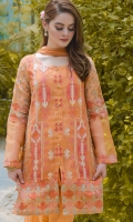 2-piece cotton net outfit with front fully embroidered,comes with pure organza embroidery sleeve and plain chiffon dupatta with lace on edge