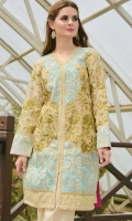 1-piece cotton net shirt with fully embroidered front & sleeve and pure silk bottom emb patch
