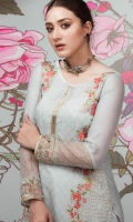 Intricately embroidered exclusive shirt perfect to festive occasion,emblished with floral art work on organza. sky blue color adding perfection to the art along with inner shirt.