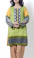 Green & White Geometric Designs Offset With Bold Ikkat Pattern At Back Completes With Monochrome Border At Front & Back With An Embroidered Neckline At Front. Paired With Straight Pants
