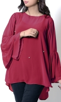 This Trendy Top With Flared Cut Sleeves. The High Low Length Gives This Top A Nice Look