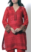 Deep red elegent shirt with thread embroidery at front, back and sleeves. completed with tilla embroidered border at sleeves hem gives perfect look.
