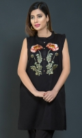 Betrendy with our chic,black top complimented with bold embroidered motif at front