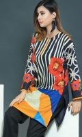 Printed shirt with accessory detailing on neckline