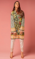 Tropical forest printed kurti,collaborating with zebra print sleeve.adding the very trendy tussels on sleeves to market it more girls