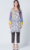 Smart printed shirt with embroidered motif on neck