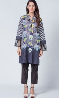 Digital printed kurti,organza embroided patch on border of sleeves.