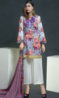 Beautifully printed shirt with embroidered neckline, looks perfect with printed lawn dupatta and loose trouser