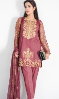 Elegent shirt in viscose chiffon with copper tilla embroidered neckline and border at hem with embroidered back and sleeves. looks smart with straight grip pants and embroidered viscose dupatta.cotton silk inner shirt.