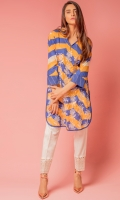 Printed kurta with cross stitch embroidery on front.distributing the elegance towards sleeves with beautiful edging