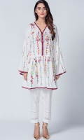 White botanical frok made in cotton lawn fabric,can be paired with white trouser and also with jeans