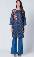 Printed embroided kurti, colorful floral embroidery enhancing the color variation of kurti