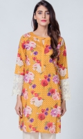 Beautiful digital printed top with embroidered patch on sleeve