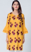 Beautifull plain top with colorful embroidery on front & sleeve
