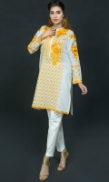 Elegant shirt with embroiderd front and sleeve along with straight pant