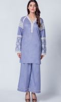 Two piece suit with embroidered sleeve , lace on neck & sleeve enhancing the beauty of outfit paired with boot cut trouser
