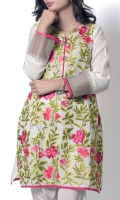 Elegant shirt with floral embroidery at front, sleeves completed with organza patch with tilla embroidery is perfect for summer occeasion.highlighties the floral art by combine spring
