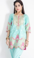 Chiffon shirt with intricately embroidered geometrical neckline with self-colormesh (jaal) and floral embroidered border at hem. paired with grip straight trouser to complete the look.cotton silk inner shirt