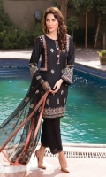 Embroidered lawn shirt with fully embroidered front and sleeves.paired with cotton trouser and embroidered net dupata.