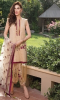 Heavy embroidered front along with plain dyed back and sleeves ,paired with embroidered net dupatta and plain dyed trouser with embroidered patches.