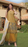 Heavy schiffli embroidered front along with embroidered sleeves and paired with plain dyed trouser and contrast with embroidered chiffon dupatta.