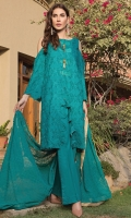 Zinc color schiffli embroidered front with beautiful schiffli embroidered sleeves along with embroidered chiffon dupatta and plain dyed cotton trouser.