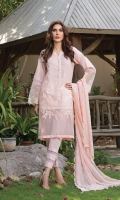 Modern embroidered lawn and organza front and embroidered organza sleeve patch, paired with cotton trouser and embroidered chiffon dupatta.