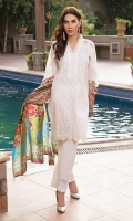 Embroided lawn shirt with chiflee hem patch and embroided border for sleeves,paired with cotton trouser and printed silk dupatta.