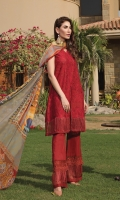 Full schiffli embroidered front with plain back and sleeves along with embroidered border, paired with beautiful printed chiffon dupatta.