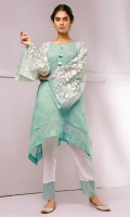 Gorgeously embroidered organza sleeves on textured fabric shirt, with pearl trimmings on hem, comes with straight pants