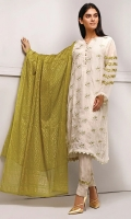 Embroidered shirt with modern sleeves detail, comes with beautiful block printed chiffon dupatta and delicate embroidered trouser
