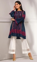 This embroidered shirt with contrast embroidery detail, features block printed panal , perfect for casual wear