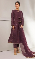 Block printed lawn frock with pleating details and beautiful trimmings, comes with straight pants and net dupata