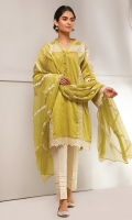 Embroidered shirt with modern sleeves detail, comes with beautiful embroidered chiffon dupatta and plain trouser