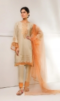 Self printed shirt with delicate embroidery detail at front and sleeves. Paired with net dupatta and self printed trouser