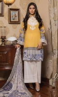 3-piece unstitched suit with neck and sleeve patti embroided, paired with plain dyed trouser and digital printed chiffon dupatta.