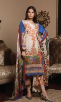 3-piece unstitched suit with embroided neckline,paired with plain dyed cotton trouser with embroided patch and digital printed chiffon dupatta.