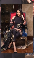 3-piece unstitched suit with embroided neckline, paired with plain dyed cotton trouser with embroided patch and digital printed chiffon dupatta.