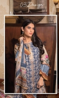 3-piece unstitched suit with front plain fully embroided , paired with plain dyed trouser with embroidery patch and digital printed chiffon dupatta.