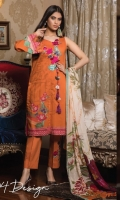 3-piece unstitched suit with embroided neckline, paired with plain cotton trouser with embroidery patch and digital printed chiffon dupatta.