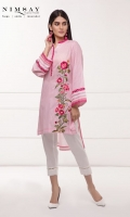Embroidered and printed lawn kurta with embroidery detail on sleeves and ban collar.