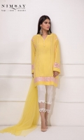 Box cut lawn shirt with drop shoulders and embroidered organza and lace detail on front and sleeves, paired with net dupatta.