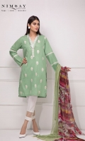 Embroidered lawn shirt paired contrast printed chiffon dupatta