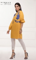 Embroidered lawn kurta with balloon sleeves and loop details on neckline.
