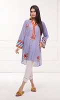 Printed lawn kurta with embroidered front and contrast details on neck and sleeves.