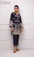 Embroidered lawn shirt with contrast lace detail on sleeves and embellishment on neckline paired with fitted trousers