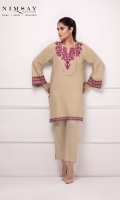 Self printed lawn kurta with embroidered neckline and embroidery detail on sleeves and hem.
