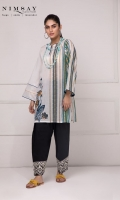 Asymmetrical embroidered and printed lawn kurta with zip detail on the front