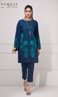 Embellished embroidered lawn shirt with lace detail on sleeves. piping detail on neckline and trousers