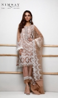 Intricate overall embroidered net shirt paired with embroidered net dupatta and cotton silk inner